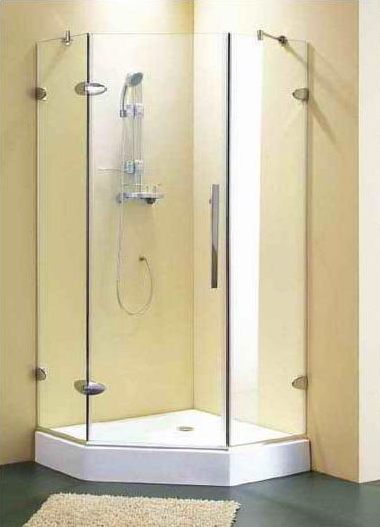 Shower Screens Gold Coast square - 900mm corner frame less shower with base package